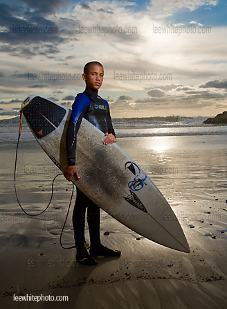 California surfer showing healthy lifestyle