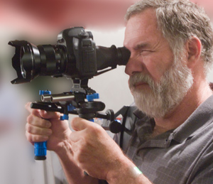 Lee White using Canon 5d in video mode with Redrock Micro gear.